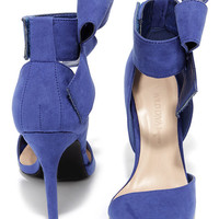 Keep a Bow Profile Royal Blue Suede Bow Heels
