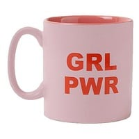GRL PWR Matte Stoneware Coffee Mug in Two-Tone Pink