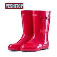 Spring Autumn 4 Colors Women Jelly Rain Shoes Mid-Calf Rubber Boots
