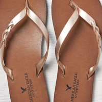 AEO Women's Braided Leather Flip Flop (Rose Gold)