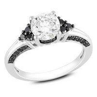 6.5mm Lab-Created White Sapphire and 1/3 CT. T.W. Enhanced Black Diamond Engagement Ring in Sterling Silver - View All Rings - Zales