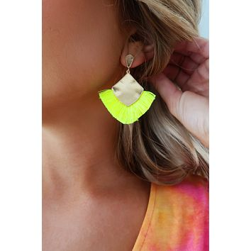 Take Me Away Earrings: Neon Yellow/Gold