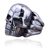Gothic Skull Ring Men Jewelry Alloy Steampunk Hollow Skeleton Male Rings Accessories