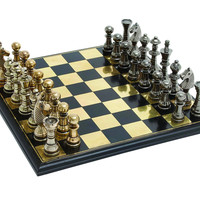 Sleek and Stylish Chess Set with Polished Aluminum Pieces and Stainless Steel Plated Wooden Board
