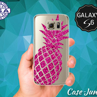 Pink Pineapple Sparkle Cutout Cute Glitter Tumblr Inspired Case for Clear Rubber Samsung Galaxy S6 and Galaxy S6 Edge Galaxy S7 and S7 Edge
