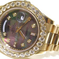 Rolex DayDate 41mm 218238 18K Yellow Gold 6.50ct White Diamond Bezel Watch