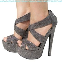 Women's Qupid Pewter Glitter Strappy Platform High Heels Sandal Pump (Brenner13):Amazon:Shoes