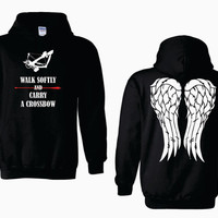 Walk Softly and Carry a Crossbow Daryl Dixon Angel Wings Adult Hoodie - The Walking Dead - Graphics on Front and Back