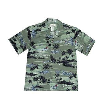 KY's Mens Green Button Down Hawaiian Shirt with Planes