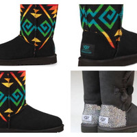 Custom UGG Boots made with Swarovski Classic Short Pendelton Free: Shipping, Repair Kit, Cleaning Kit, Crystal Color, 48 hr Turnaround