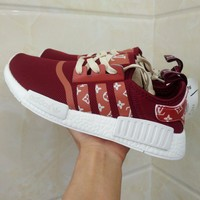 Sale Louis Vuitton LV x Adidas NMD R1 Red S75237 Boost Fashion Trending Sport Running Shoes Casual Shoes Sneakers-1