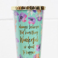 Floral Quote 24 oz Tumbler w/ Gold Lid {Teal}