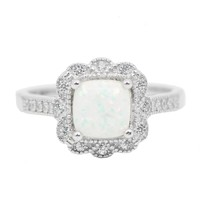 Sterling Silver Cushion Cut Opal Floral Halo Ring