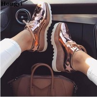 Rose Gold Stars Elyse Platform Oxford Women Shoes Lace Up Wedges Leather Ankle Booties Casual Shoes Plus Size 41