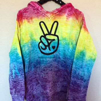Tie Dye - Peace Hooded Sweatshirt  - Tye Dyed Sweatshirt - Ruffles with Love