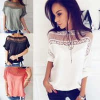 Patchwork Tops Hollow Out Sexy Slim 925 Hot Sale T-shirts [11132247623]