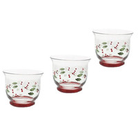 Pfaltzgraff Winterberry Holiday Decor Glass Candle Holder