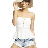 Button-Front Peplum Tube Top   Wet Seal