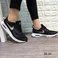 NIKE AIR MAX THEA 2018 Men's and Women's Trendy Fashion Sneakers F-A0-HXYDXPF black+silver logo