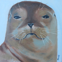 WITH ATTITUDE - 12 x 12 - California Sea Lion - Original Oil Painting - Seal - Beach Home Decor - Art - Sea Mammal - Beachy Decorative Art