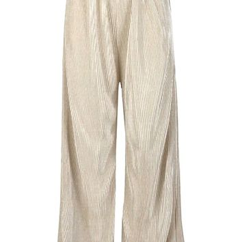 Chances Are Elastic Waist Pleated Wide Leg Loose Palazzo Pants - 2 Colors Available