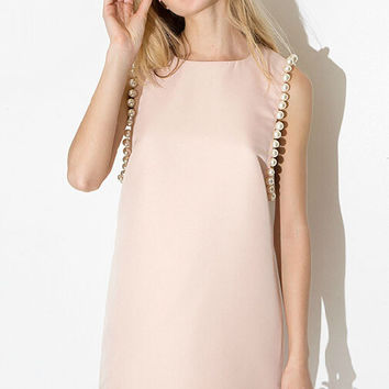 Pink Sleeveless Dress with Pearl