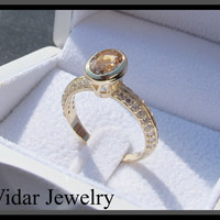 Topaz And Diamond Engagement Ring | Vidar Jewelry - Unique Custom Engagement And Wedding Rings