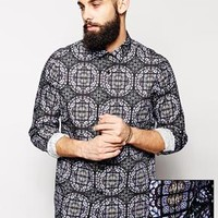 ASOS Smart Shirt with Stained Glass Print and Long Sleeves