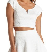 Quilted Deep V Cap Sleeve Crop Top by Charlotte Russe - White