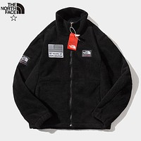 The North Face New fashion embroidery letter coupe artificial plush long sleeve coat Black