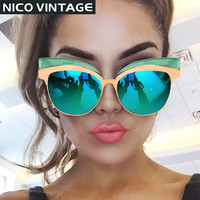 Coating Mirror Sunglasses For Women Gold Cat  Eye Shades High Fashion Oculos feminino New Cool Designer Female Sun Glasses