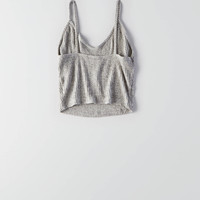 Don't Ask Why Ribbed Crop Tank, Light Heather Grey