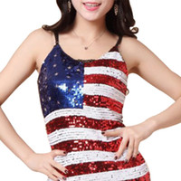 Sinful Theme Sequin USA American Flag Stars Stripes Women Camisole Tank T-Shirts