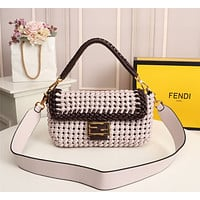 Fendi Women Leather Shoulder Bags Satchel Tote Bag Handbag Shopping Leather Tote Crossbody Satchel 26*4*14CM