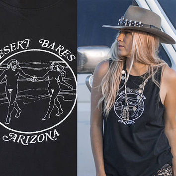Desert Bares Black Sleeveless Tee   Mens Muscle Shirt womens Muscle Tank   Black Motorcycle 60s 70s Vintage Style festival nude graphic tee