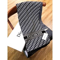 Dior 2019 new men's and women's knitted cashmere long shawl scarf Black