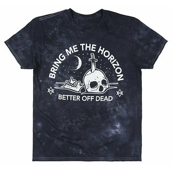 Bring Me The Horizon Better Off Dead T Shirt Tie Dye Bmth Rock Music Tee Navy Adults Casual Tee Shirt|T-Shirts