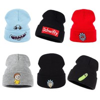 Rick and Morty Winter Knitted Hats Rick Beanie Outdoor Skiing knit Hat Skullies American Anime Cotton Pickle Rick Get Schwifty