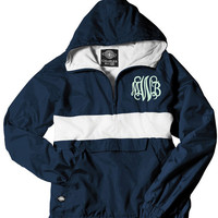 Monogrammed Pullover Rain Jacket LINED with a Hood - NAVY and WHITE Rugby Style Stripe - Lightweight and Water Resistant - XSmall - 3X