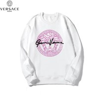 Versace 2019 new chest pink print loose wild round neck sweater white