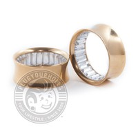 Gold with Bling Inside Double Flared Steel Tunnels