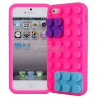 New Pink Lego Brick Style Silicone Skin Case Cover For Apple iPhone 5 5G 05C