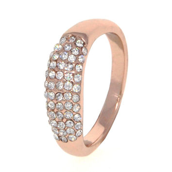 Dear Deer Rose Gold Plated CZ Pave Band Ring