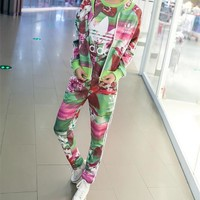 """Adidas"" Women Casual Multicolor Lotus Print Zip Cardigan Short Sleeve Trousers Set Three-Piece Sportswear"