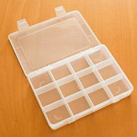 Frosted Plastic Jewelry, Craft, Beads, Accessories Multipurpose Organizer with 12 Compartments and Removable Lid