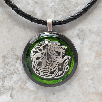 celtic seahorse necklace: green - men necklace - celtic jewelry - leather cord - men jewelry - boyfriend gift - water horse - unique jewelry