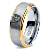 Oakland Raiders Ring Mens Fanatic NFL Sports Football Boys Girls Womens NFL Jewelry Fathers Day Gift Tungsten Carbide 132
