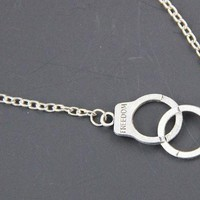 "Handcuff Chain Link Necklace with the words ""Freedom"""