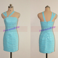 Short sky blue homecoming dress in 2014,sexy sheathy prom dresses hot,unique chic women gowns for holiday party.