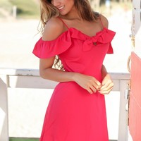 Fuchsia Off Shoulder Short Dress with Tie